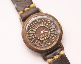 Vintage Handmade Wrist Watch with Handstitch Leather Band /// Matahari - Perfect Gift for Birthday, Anniversary