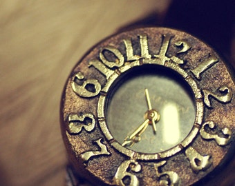 Vintage Steampunk  Wrist Watch with Leather Band /// RETRO Arabian - Perfect Gift for Birthday, Anniversary