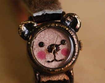 Vintage Handmade Wrist Watch with Leather Band /// A cute little bear GomGom brownhair - Perfect Gift for Birthday, Anniversary