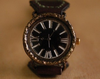 Vintage Steampunk Handmade Wrist Watch with Handstitch Leather Band /// Floating eye - Perfect Gift for Birthday, Anniversary