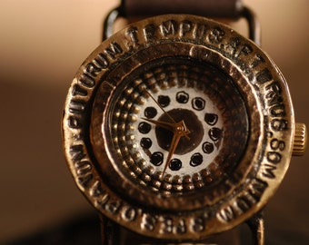 Vintage Retro Steampunk Handcraft Watch. Handstitch Leather Band /// Spatium - Perfect Gift for Birthday and Anniversary