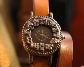 Vintage Handcraft Wrist Watch with Leather Band /// Ppuingppuing - Perfect Gift for Birthday and Anniversary
