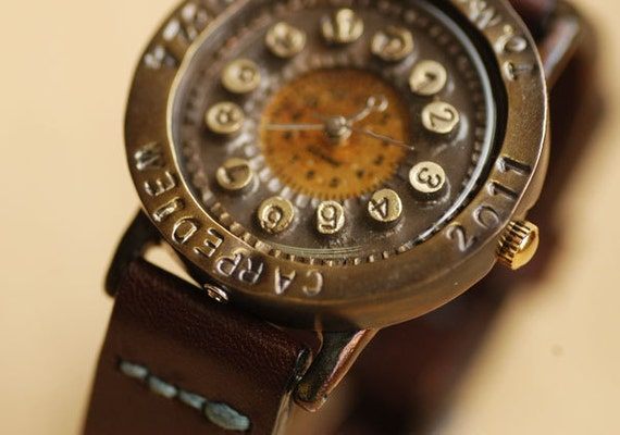 Vintage Retro Steampunk Handcraft Wrist Watch with Handstitch Leather Band /// Retro S.button - Perfect Gift for Birthday and Anniversary