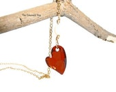 Red Magma Swarovski Crystal heart and Freshwater Pearl 14K gold filled Necklace
