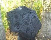 black on black PARASOL flocked gothic mourning