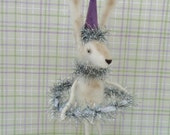 "Fuzz Hula Hoop Bunny - 8"" Prim Vintage Inspired Handmade Needle felted figure signed & Numbered no two alike"