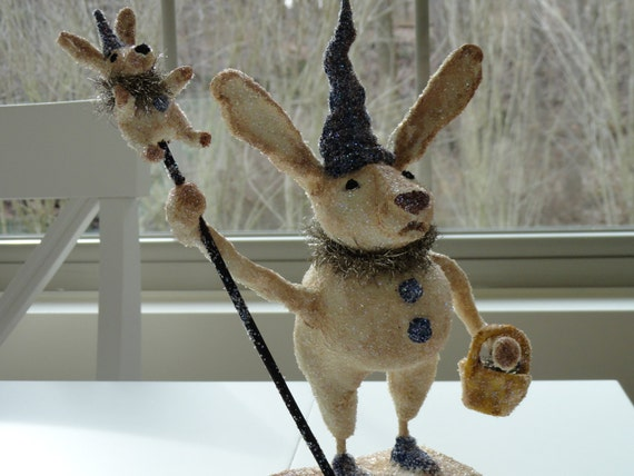 """Barnaby - 10"""" Prim Vintage Inspired Handmade/painted Clay Bunny Rabbit signed & Numbered no two alike"""