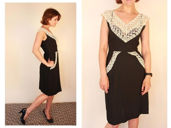 sale item...1940's Lace Collar Dress, Exquisite Vintage, Small, Hand Embroidered Black and White Cotton and Lace