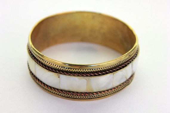 Mother of Pearl Inlaid Brass Bangle, Textured, Beautiful