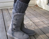 Boot Cuffs - Hand Knit - 100% Lamb's Wool - Soft Wool - Cabled - Marled gray - Uggs - Winter Accessory - Woman - Fashion