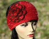 Hand knitted headband/earwarmer,crocheted flower, wool blend