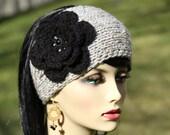 Hand Knit Headband - Earwarmer - Crocheted Flower - Grey Marble  - Black - Woman Hat - Winter Accessory - Christmas  Gift