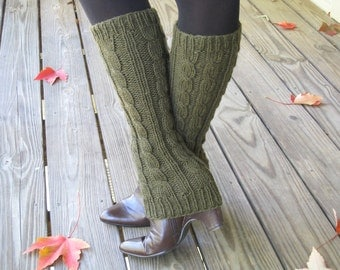 Cable knit Leg Warmers - Boot Cuffs - Boot Cover - Ugg -100% wool - Hand Knit - Deep Olive or CHOOSE YOUR COLOR - Woman - Winter - Gift