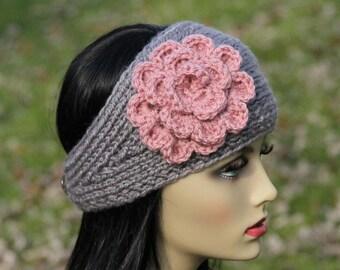 Headband - Ear Warmer - Hand Knit - Crocheted Flower - Wool Blend - Grey - Dusty Pink - Adult - Teen - Christmas Gift - Winter Accessory