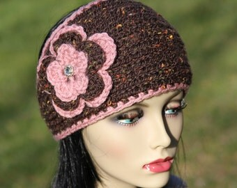 Hand knitted headband/earwarmer, wool blend, crocheted flower with very shiny rhinestone button,brown and dusty pink