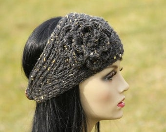 Hand knitted headband/earwarmer, crocheted flower , wool blend,color in charcoal grey, tweeds, Romantic Gift