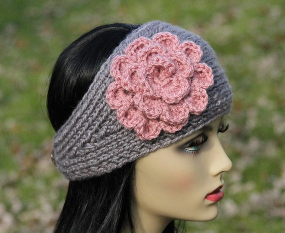 Headband - Ear Warmer - Hand Knit - Crocheted Flower - Wool Blend - Grey - Dusty Pink - Adult - Teen - Christmas Gift - Winter Accessory