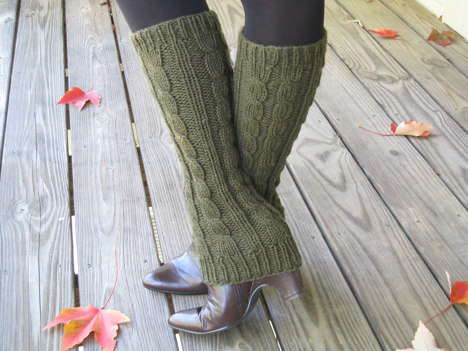 Knit Leg Warmers Cable Pattern : Cable knit Leg Warmers Boot Cuffs Boot Cover Ugg 100%