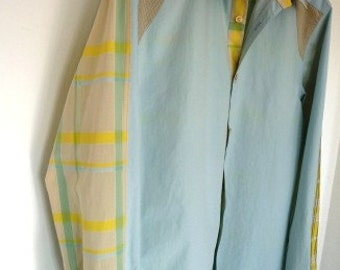 Fitted Cotton Men's Shirt Iceblue & Yellow XL