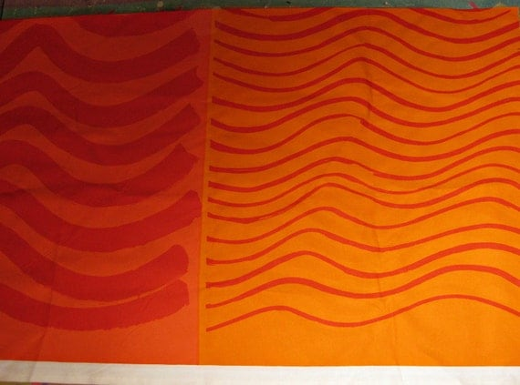 2.5 Yards of orange Marimekko Silkkikuikka cotton fabric 3 panels