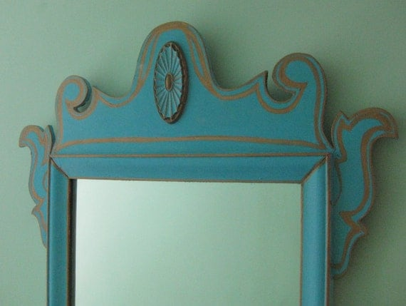 Turquoise gold mirror