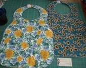 Sunflower Blues Floral Reversible Adult Bib - Finished and Ready to Ship