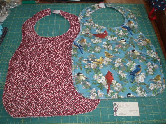 Blue Birds and Red Floral Reversible Adult Bib - Finished and Ready to Ship