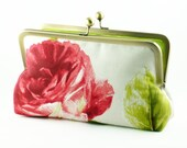 Silk lining Floral Clutch Bag Purse in Red and Green
