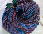 Denim and Flannel- Handspun Hand dyed Soft Merino Wool Yarn