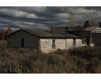 Menor's Cabin - Matted photograph of William Menor's homestead in the Grand Tetons National Park.