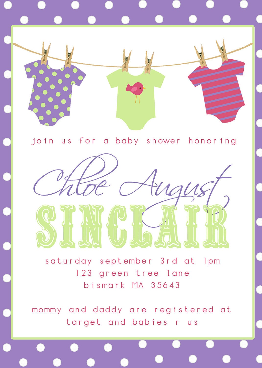 onesies clothesline baby shower invitation printable you