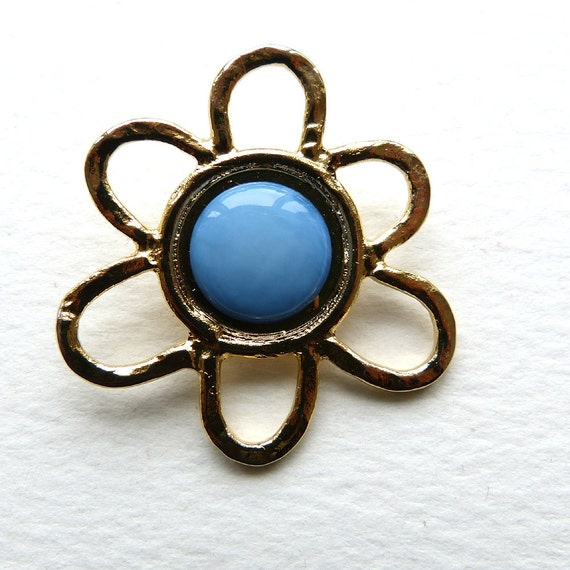 Large Vintage English Gold and Turquoise Flower Button