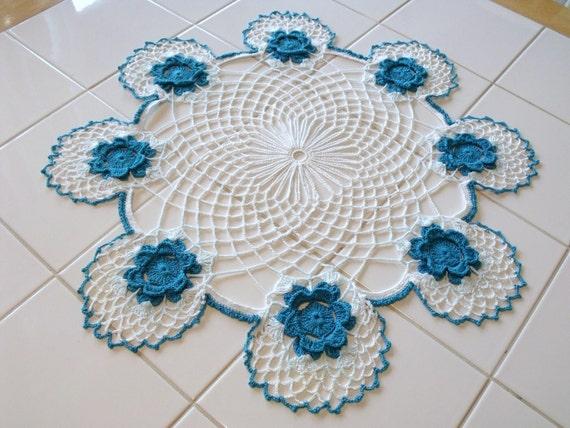 Vintage Turquoise & White Doily 3-D Flower Table Topper