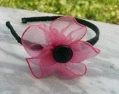 Fuchsia-Black Flower Headband
