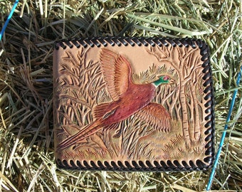 Custom Order Men's Leather Wallet With Pheasant Hunting Scene