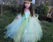 Knit Crochet Hand made  Turquoise Fairy Pageant casual wear Boutique Girl Custom size 12m 2 3 4 5 6 7 8yrs