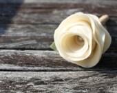 rustic cream rose pen& vase , large blossom