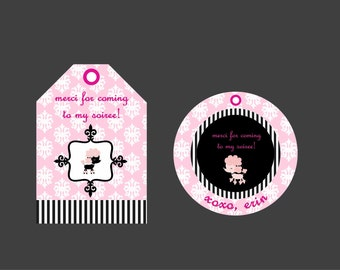 Custom personalized Paris Pink Poodle favor tags - your choice poodle or eiffel tower and round or tag - diy printable