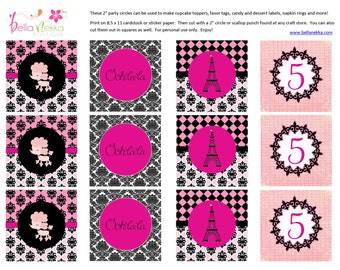 Custom personalized Paris Pink Poodle party circles - 8 DESIGNS INCLUDED - diy printable favor tags cupcake toppers napkin rings food labels