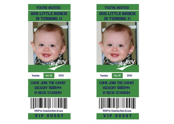 "Printable Football ""Ticket"" Birthday Photo Invitation (or any sport):  10-15 cents per invitation"
