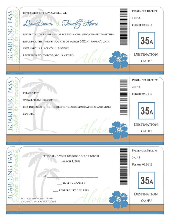 Printable Boarding Pass - travel information, invitation, save the date, destination wedding, luau, hawaiian birthday party