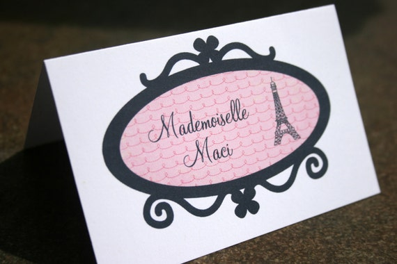 Custom personalized Paris Pink Poodle place cards folded tent cards food dessert labels eiffel tower - diy printable