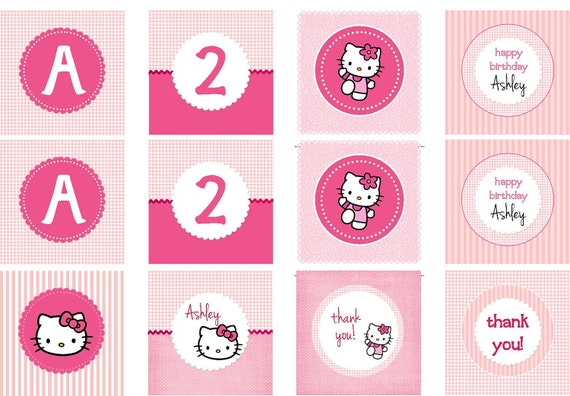 Custom personalized Hello Kitty pink gingham party circles - 8 DESIGNS - diy printable favor tags cupcake toppers napkin rings food labels