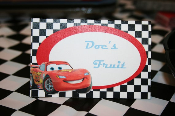 Custom Personalized Cars Place Cards folded Tent Cards food dessert labels - diy printable