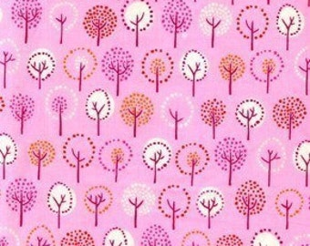 Wildwood Trees Forest  in Fuchsia by Erin MacMorris for Free Spirit- cotton fabric -1 yard- very CUTE