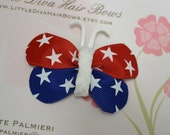 4th of July Butterfly Bow- Red, White and Blue