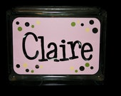 """Glass Night Light Block with Name (dots or stars) -  6x8"""""""