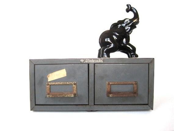 Grey Vintage Industrial Style Metal File Box Drawers