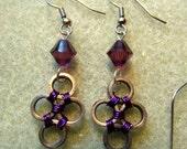 Purple Bike Chain Swarovski Crystal Earrings