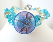 Blue Dragonfly Bracelet, Czech Glass Button, Sparkling Glass Beads